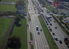 Traffic jam on road. From top side traffic on road royalty free stock image