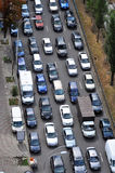 Traffic jam on the road. Top view Royalty Free Stock Images