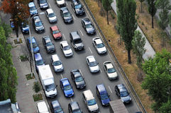 Traffic jam on the road. Top view Royalty Free Stock Photography