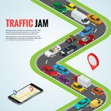 Traffic jam and Road way location. Mobile gps navigation flat isometric high quality. City transport car urban public and freight transport for infographics royalty free illustration
