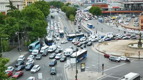 Traffic Jam roundabout full of vehicles in Madrid Square Atocha 4k footage