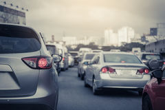 Traffic jam with row of car Stock Photography