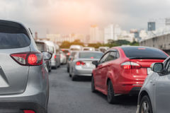 Traffic jam with row of car Royalty Free Stock Photography
