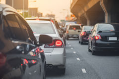 Traffic jam with row of car Stock Image