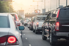 Traffic jam with row of car Royalty Free Stock Photos