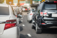Traffic jam with row of car Stock Photos