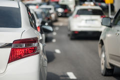 Traffic jam with row of car Royalty Free Stock Photo