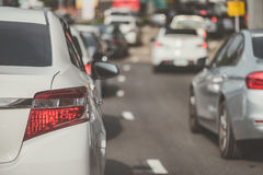 Traffic jam with row of car Royalty Free Stock Image