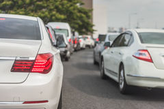 Traffic jam with row of cars Royalty Free Stock Photo