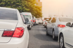 Traffic jam with row of cars Stock Image