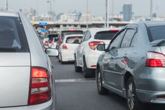 Traffic jam with row of cars Stock Photos