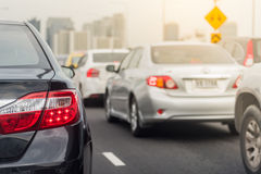 Traffic jam with row of cars Royalty Free Stock Images