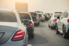 Traffic jam with row of cars Royalty Free Stock Photos