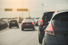 Traffic jam with row of cars Stock Photo