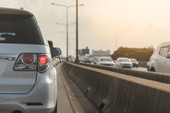Traffic jam with row of cars Stock Images