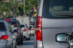 Traffic jam with row of cars on expressway during rush hour Royalty Free Stock Photos