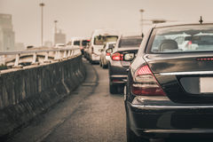 Traffic jam with row of cars on expressway during rush hour , mo Stock Photography
