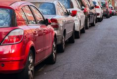 Traffic jam with row of cars on expressway during rush hour. In Madrid Royalty Free Stock Photography