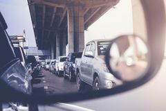 Traffic jam during rush hour. Traffic jam with row of cars during rush hour Royalty Free Stock Photography