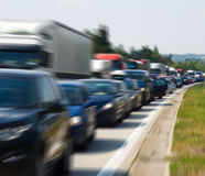 Traffic jam. A traffic jam with rows of cars with added motion blur stock images