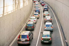 Cars in traffic. Traffic Jam in Bucharest, Romania Royalty Free Stock Image