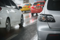 Traffic jam with rows of cars during rush hour on road Royalty Free Stock Photography