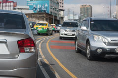 Traffic jam in rush hour Stock Images