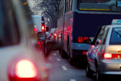 Traffic jam at rush hour. With car lights Stock Image
