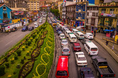 Traffic jam in rush hour in city centre. View from a bridge showing a street full of cars stuck in a trafic jam on the city highway in rush hour- La Paz, BOLIVIA Stock Image