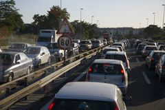 Traffic jam during rush hour in Rome, Italy, Europe Royalty Free Stock Image