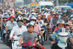 Traffic jam in Saigon city Royalty Free Stock Photo