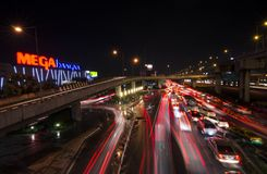 Traffic jam. At Samut prakan in Thailand, MEGA BANGNA at nigh after rain Royalty Free Stock Photography