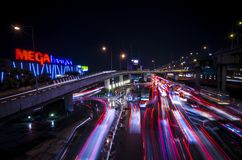 Traffic jam. At Samut prakan in Thailand, MEGA BANGNA at nigh after rain Stock Image