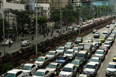 Traffic jam on Sathorn Road in Bangkok, Thailand. Stock Photo