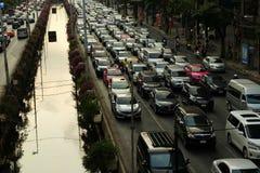 Traffic jam on Sathorn Road in Bangkok, Thailand. Royalty Free Stock Image