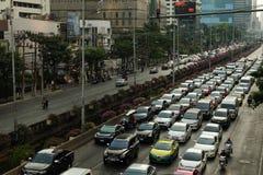 Traffic jam on Sathorn Road in Bangkok, Thailand. Stock Image