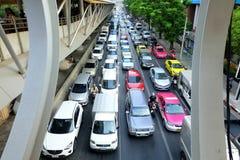 Traffic jam on Sathorn Road in Bangkok, Thailand. Stock Photography