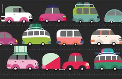 Traffic jam scene. City road full of cars standing in traffic congestion stock illustration
