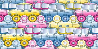 Traffic jam - seamless pattern with stylized cars in three shades. Stock Photo