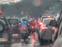 Traffic jam in Serpong. Rainy day in Serpong, traffic jam on the street Royalty Free Stock Photos