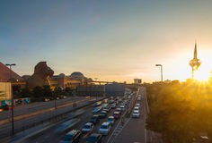 Traffic jam and the shopping center Royalty Free Stock Images
