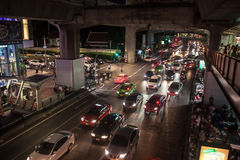 Traffic jam on Siam square Royalty Free Stock Images
