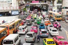 Traffic Jam At Siam Square, Bangkok Thailand royalty free stock photos
