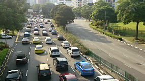 Traffic jam. In Singapore and other side empty Royalty Free Stock Photography