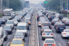 Traffic jam in smog covered city, Beijing, China royalty free stock images