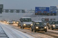 Traffic jam and snow on the Amsterdam highway. Traffic jam and snow on the A10 highway around Amsterdam royalty free stock photos