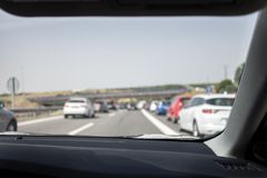 Traffic jam in spanish highway Royalty Free Stock Image