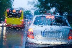 Traffic jam during stormy day Royalty Free Stock Images