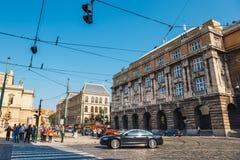 Traffic jam on the street in Prague, Czech Republic Royalty Free Stock Photography