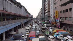 Traffic jam on street in Yangon, Myanmar stock video footage